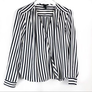 H&M Striped Navy And White wrap blouse